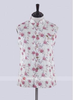 Cream color printed nehru jacket