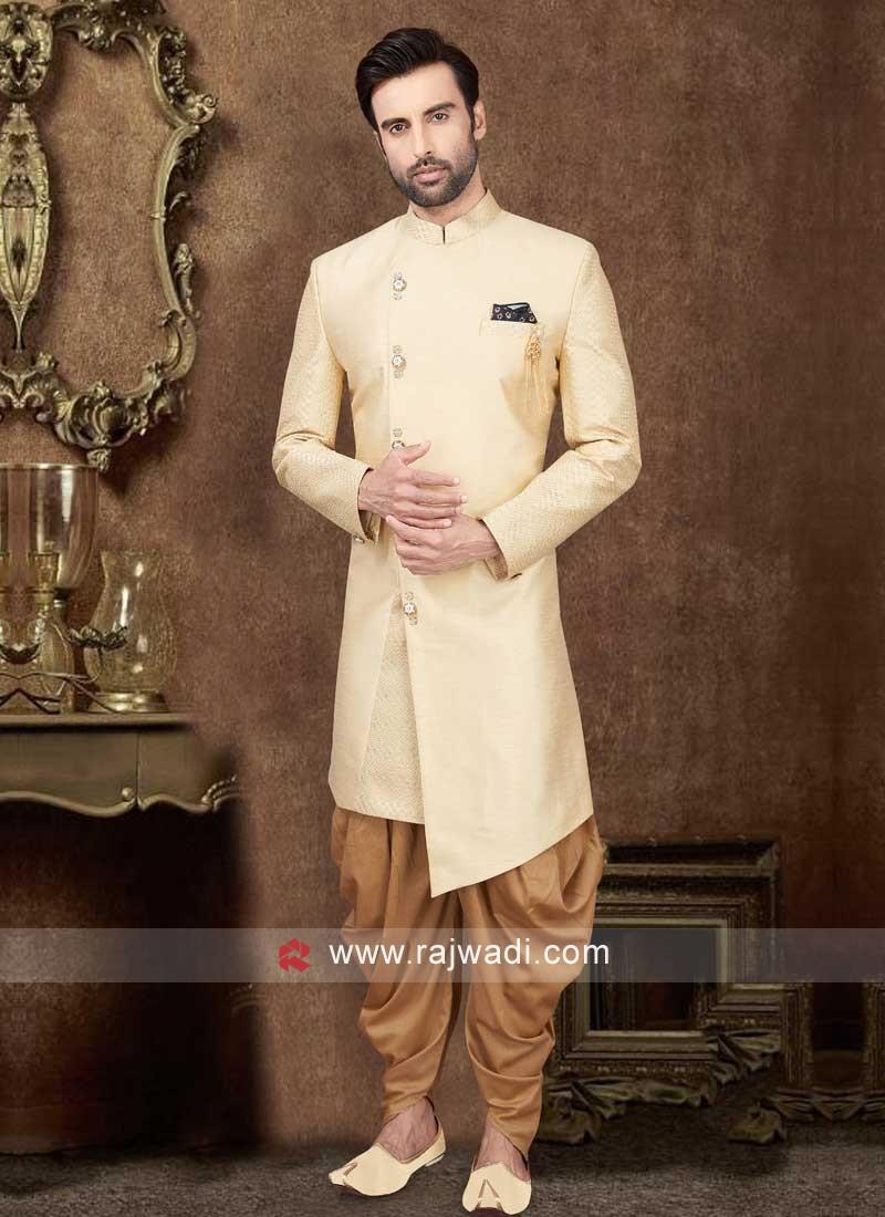Cream Color Raw Silk Indo-Western
