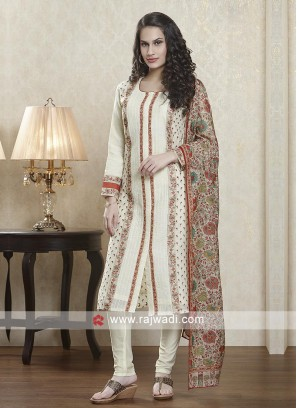 Cream color salwar suit with dupatta