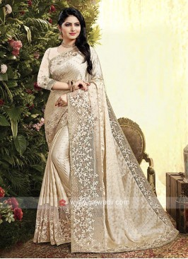 Cream Color Satin Georgette Saree