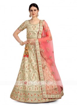 Cream Color Satin Silk Lehenga Choli