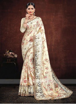 Cream Color Satin Silk Saree