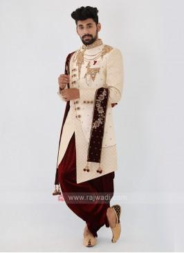 Cream Color Silk Mens Indo-Western
