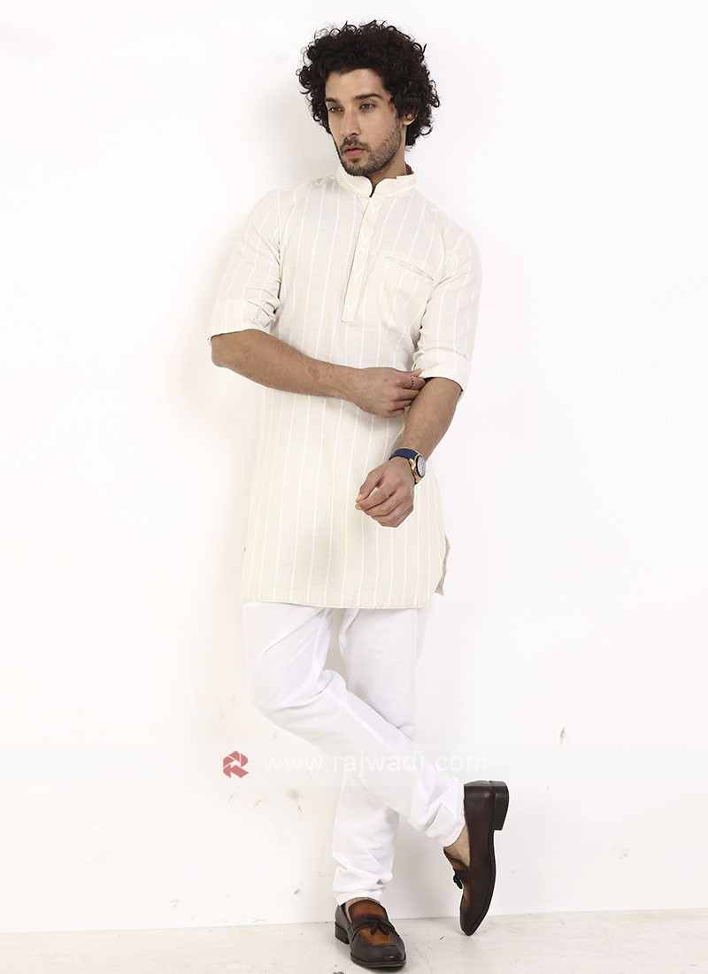 cream color striped kurta