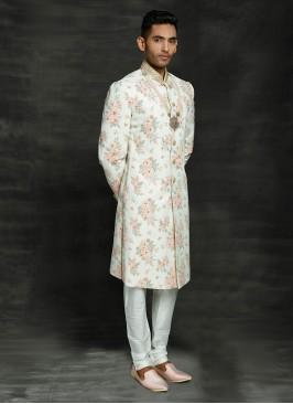 Printed Cream Color Wedding Sherwani