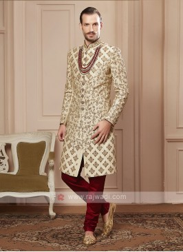 cream colour sherwani