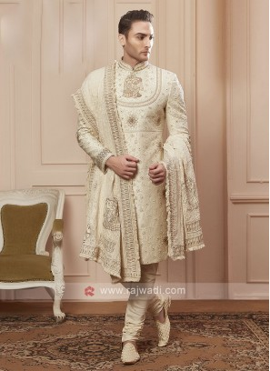 cream colour silk sherwani