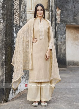 Cream Cotton Salwar Suit