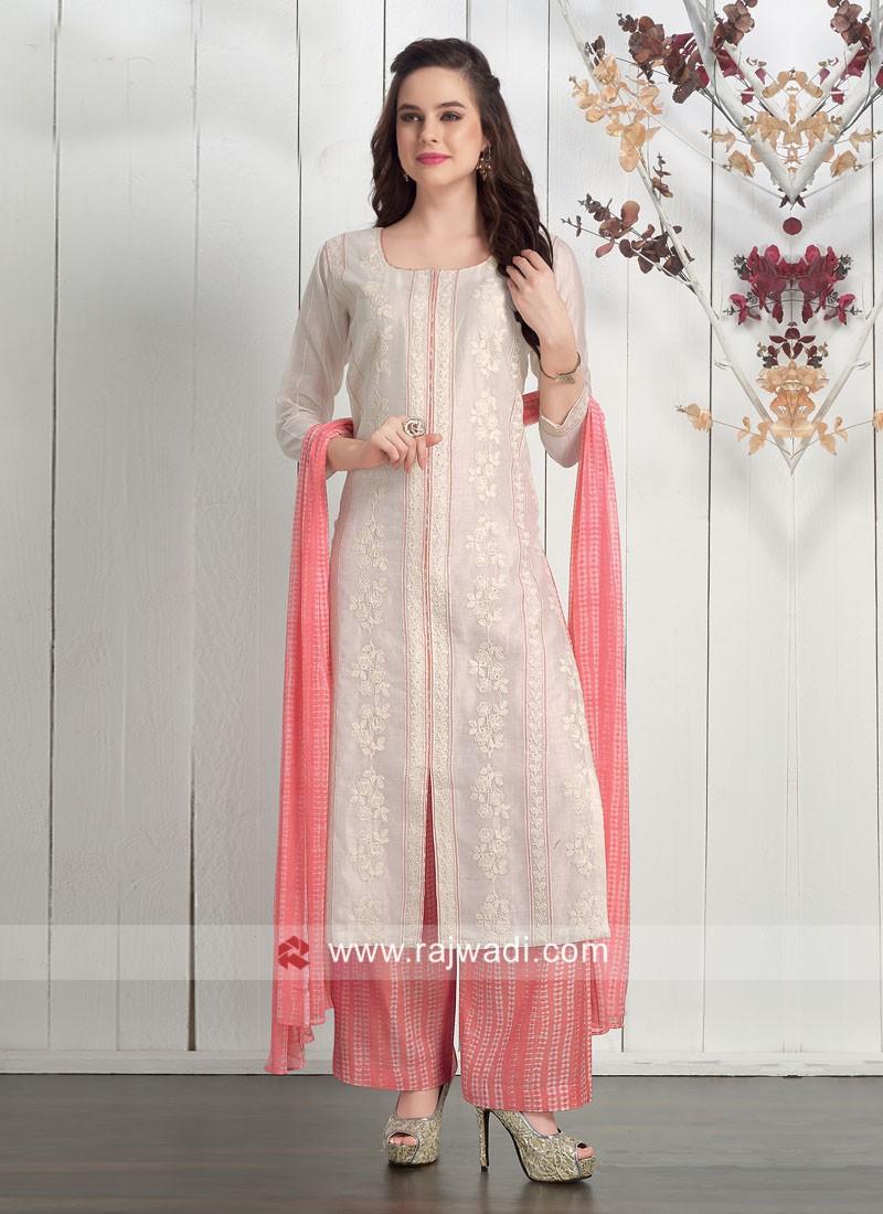 Dressline Cream Cotton Silk Palazzo Suit