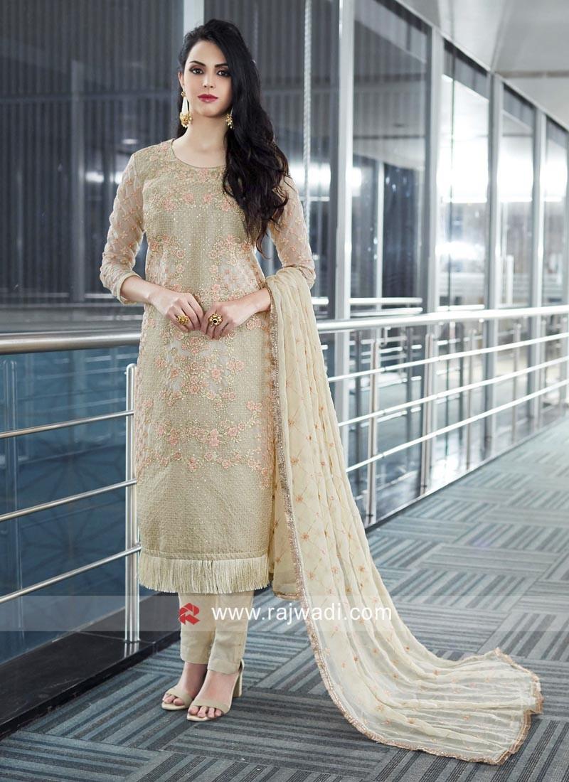 Cream Designer Salwar Kameez