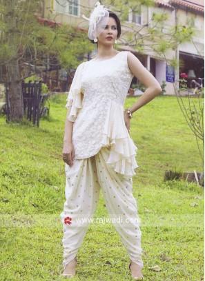 Cream Dhoti Patiala Suit