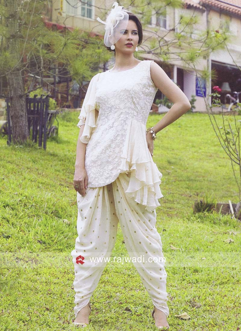Cream Dhoti Patiala Suit