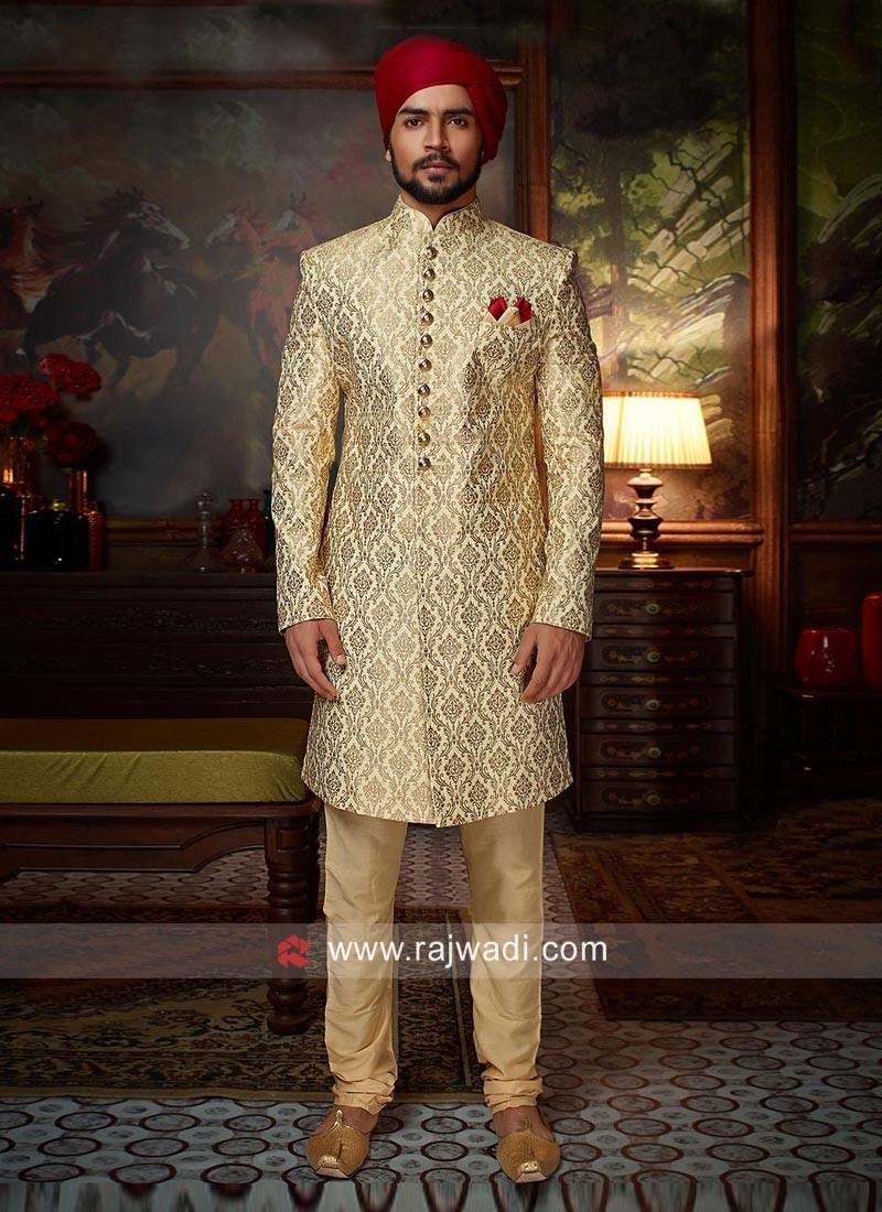 Charming Golden Cream Color Sherwani