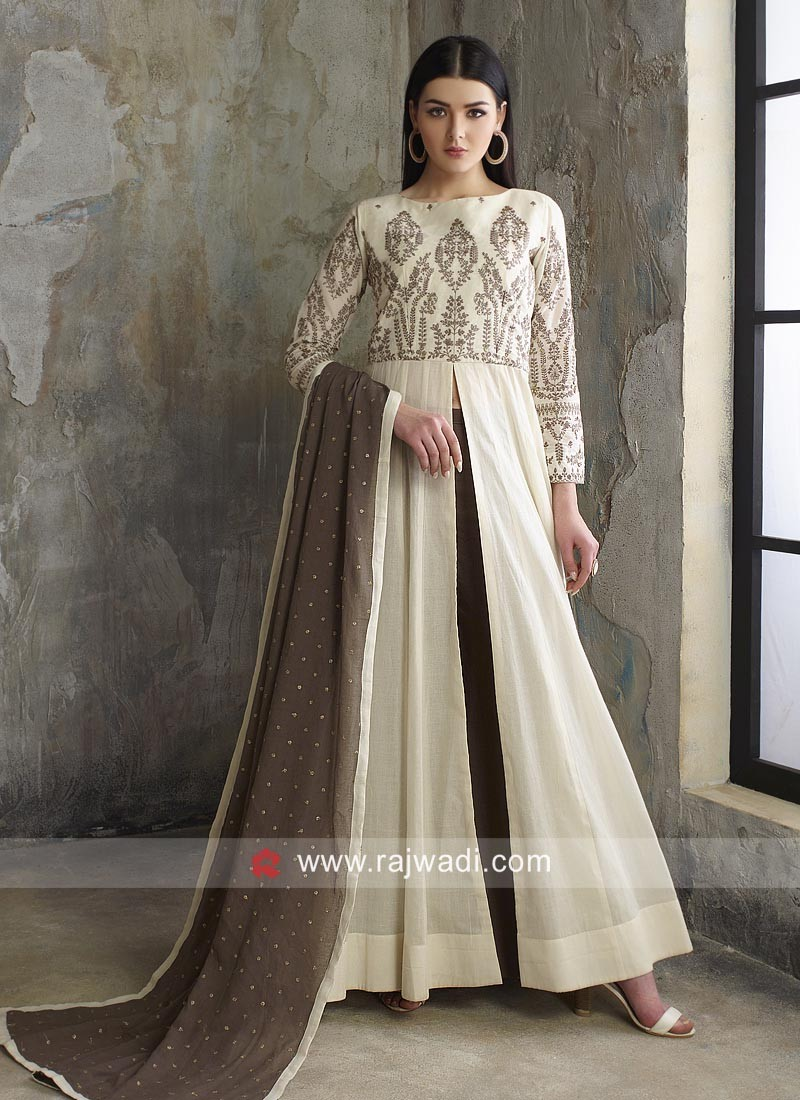 Cream Embroidered Palazzo Suit with Dupatta
