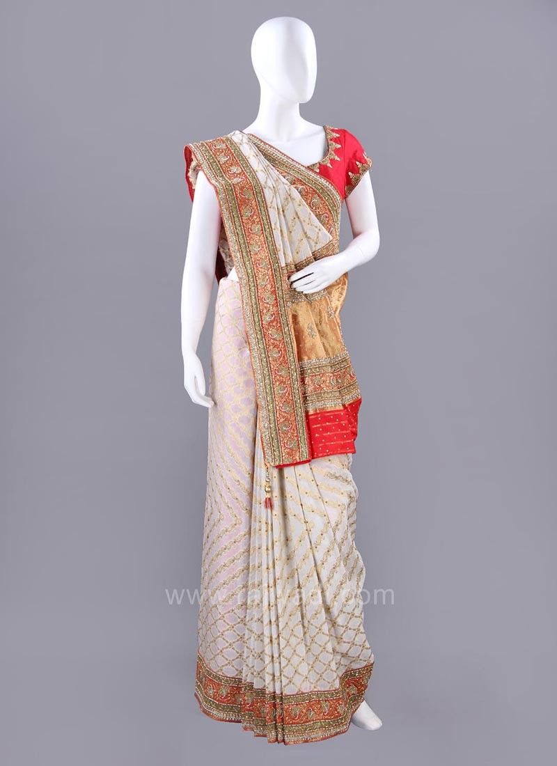 Cream Embroidered Sari with Multicolor Border