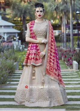 Cream Embroidered Wedding Lehenga Choli