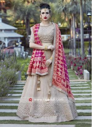 Cream Embroidered Wedding Lehenga Choli