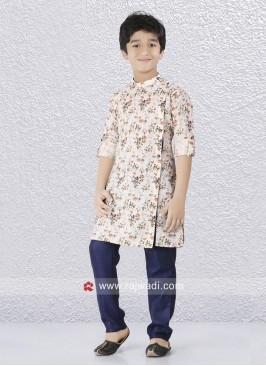 Cream Flower Print Kurta Set