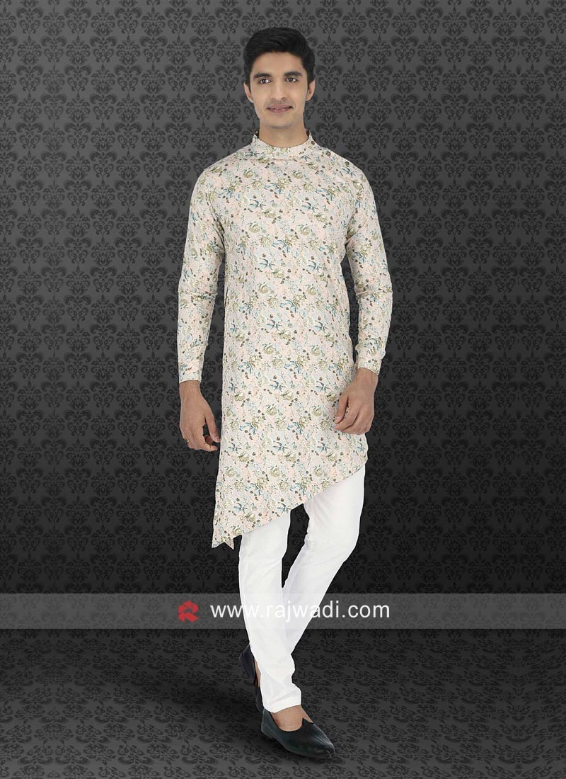 Cream Flower Print Pathani Set