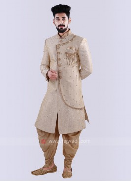 Cream & Golden Sherwani For Groom
