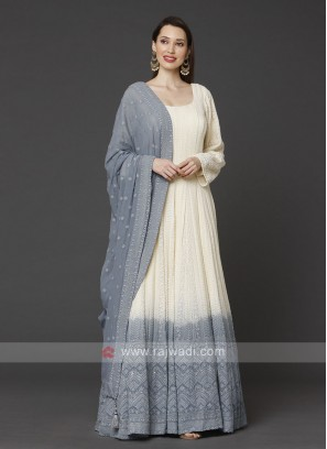 Cream & Grey Anarkali Suit With Dupatta