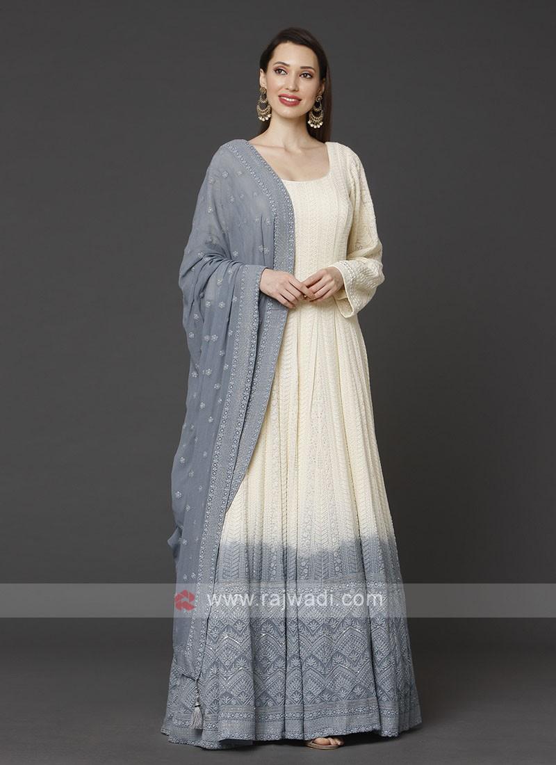 Cream & Grey Anarkali Suit With Dupatta