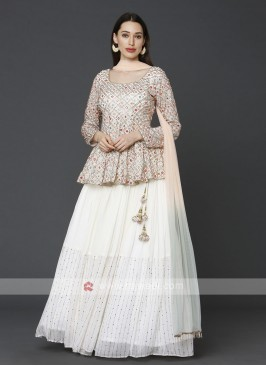 Cream Indowestern Choli Suit