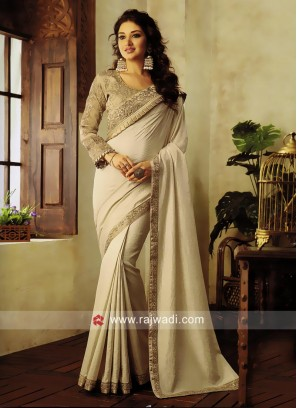 Cream Lace Work Saree with Embroidered Blouse