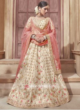 Cream Lehenga Set with Peach Net Dupatta