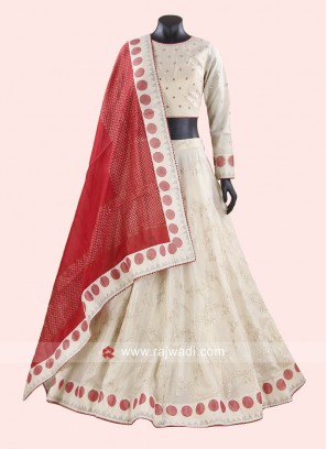 Cream Lehenga Set with Red Dupatta
