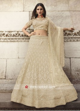 Cream Lucknowi Work Lehenga