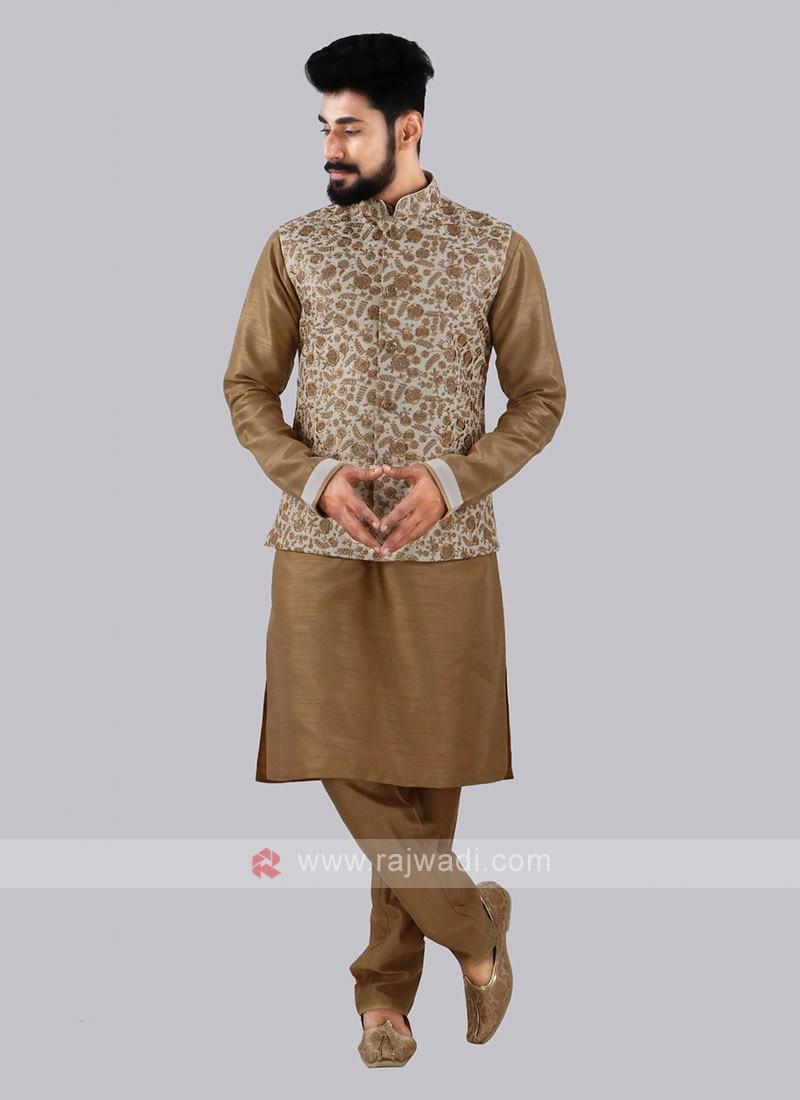 Cream Nehru Jacket With Golden Kurta Suit