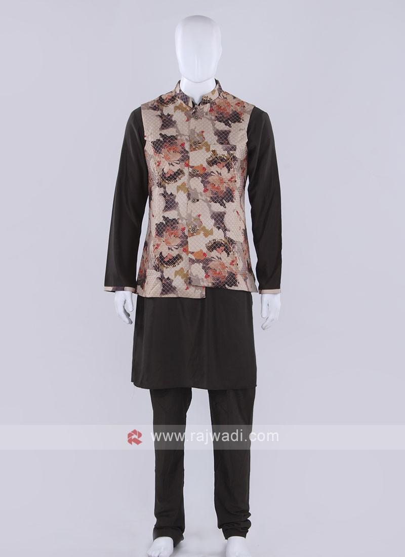 Cream Nehru jacket with kurta set