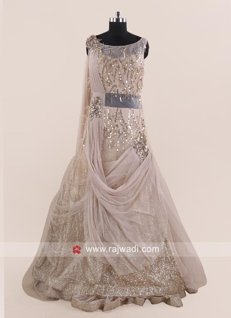 Cream Net Double Layer Drape Gown