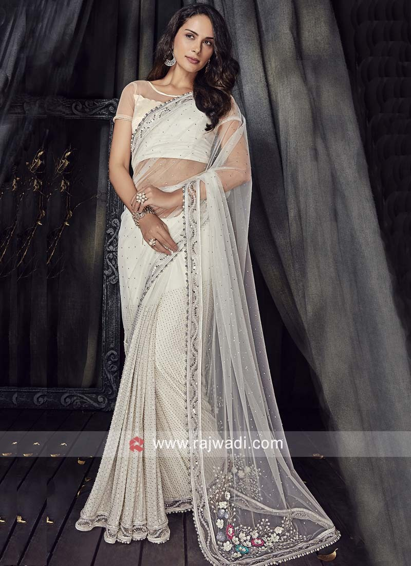 Cream Net Flower Work Saree