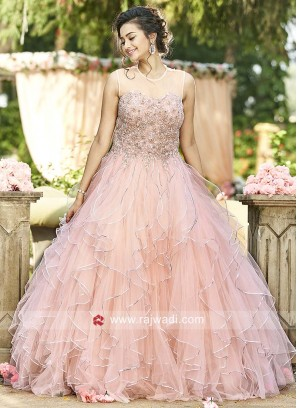Light Pink Net Gown with Handkerchief Layer