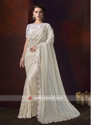 Cream Net Saree with White Raw Silk Blouse