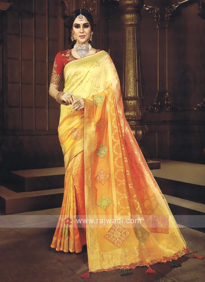 Cream & Orange Shaded Saree
