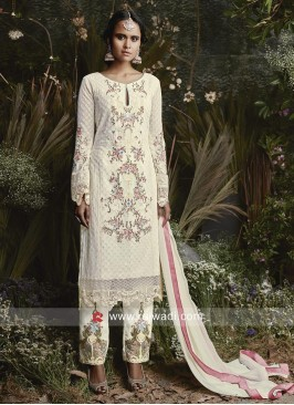 Cream Pakistani Salwar Suit for Eid