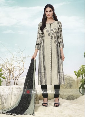 Cream Printed Churidar Slawar Kameez