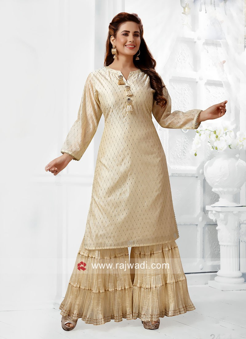Cream Rubber Print Gharara Suit
