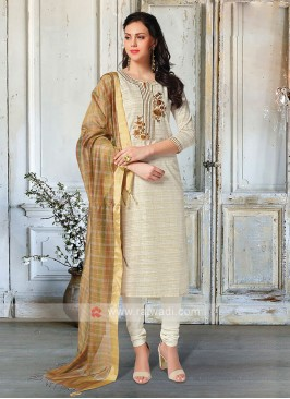 Cream Salwar Kameez With Dupatta