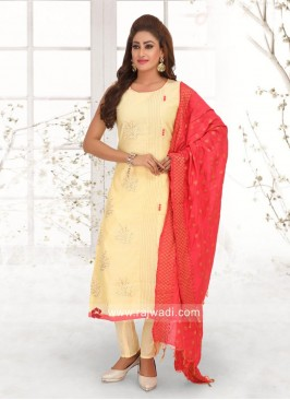 Cream Salwar Suit with Dupatta