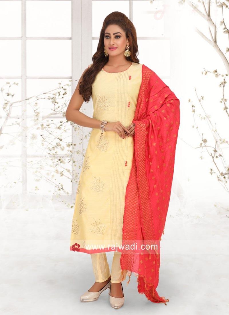 Cream Salwar Suit with Dupatta