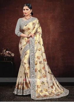 Cream Satin Silk Saree