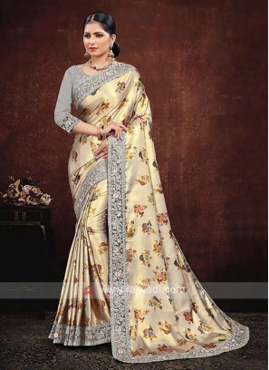 Cream Satin Silk Saree
