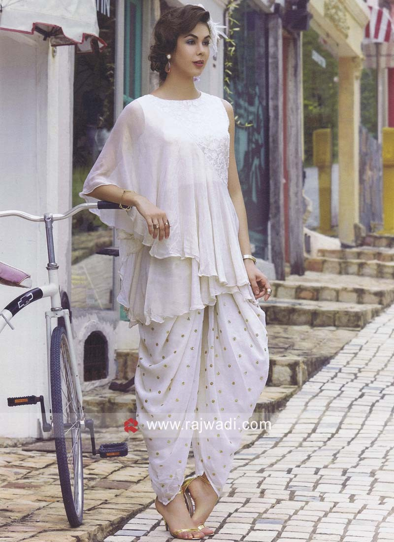 Cream Shimmer Silk Dhoti Style Suit