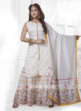 Cream Shimmer Silk Gharara Salwar Suit