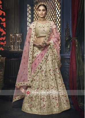 Cream Silk Designer Lehenga Choli