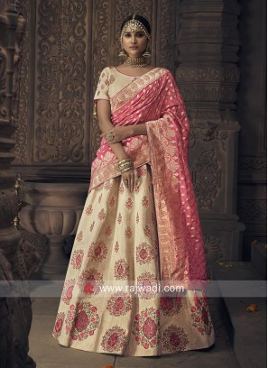 Cream Silk Heavy Lehenga Choli